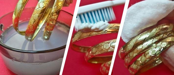 почистить украшения из золота
