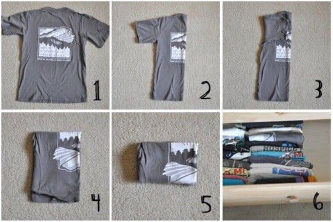 Как правильно сворачивать футболку