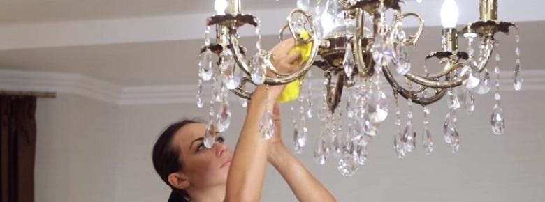 5 шагов быстро вымыть люстру, не снимая с потолка