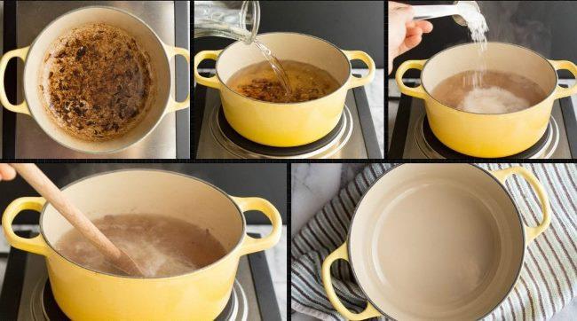 Как правильно отмыть почерневшую или пожелтевшую эмалированную кастрюлю